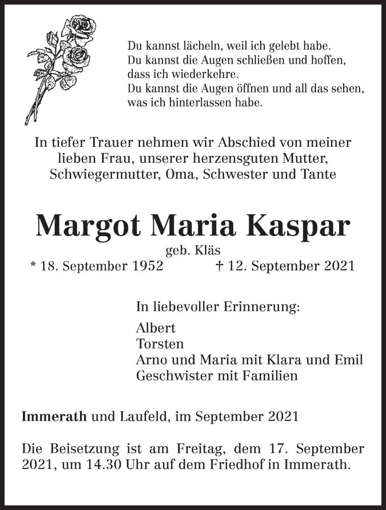Traueranzeige für Margot Maria Kaspar vom 14.09.2021 aus trierischer_volksfreund