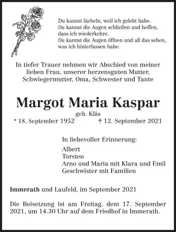 Traueranzeige von Margot Maria Kaspar von trierischer_volksfreund