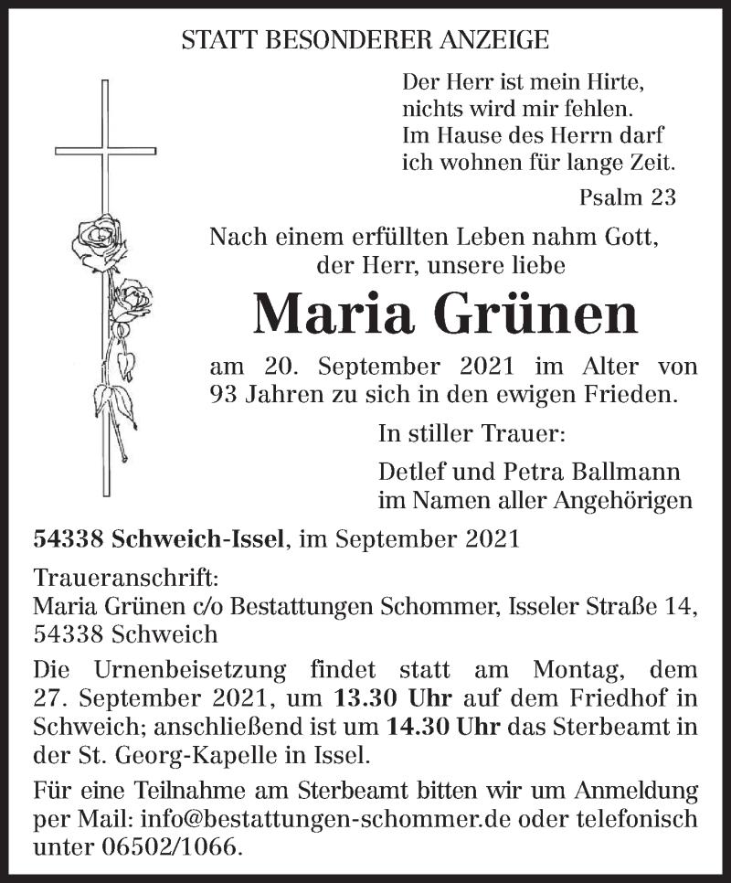 Traueranzeige für Maria Grünen vom 25.09.2021 aus trierischer_volksfreund