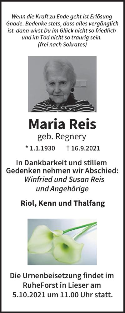 Traueranzeige für Maria Reis vom 25.09.2021 aus trierischer_volksfreund
