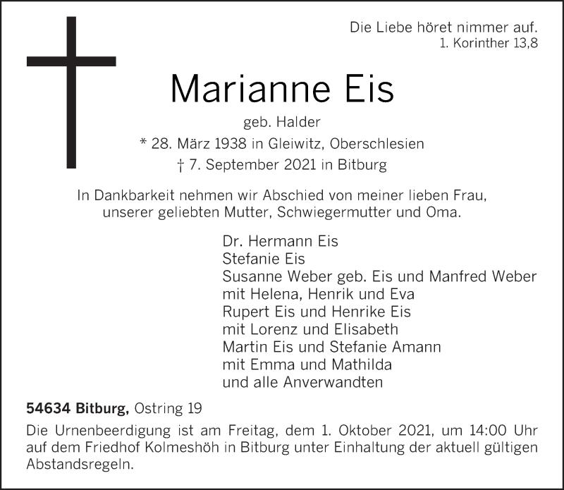 Traueranzeige für Marianne Eis vom 15.09.2021 aus trierischer_volksfreund