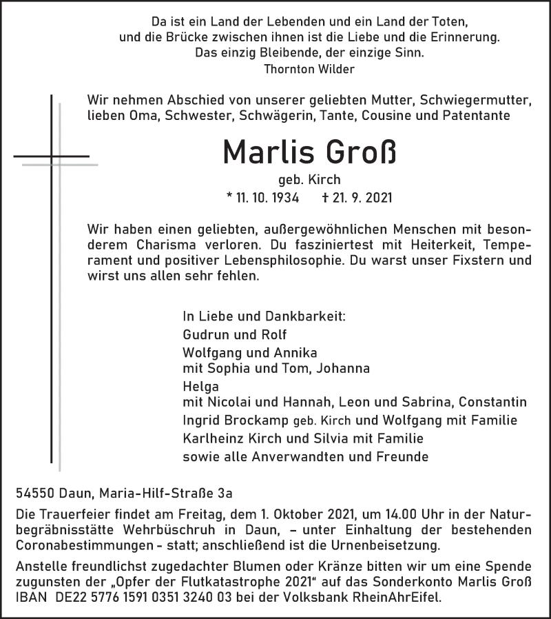 Traueranzeige für Marlis Groß vom 25.09.2021 aus trierischer_volksfreund