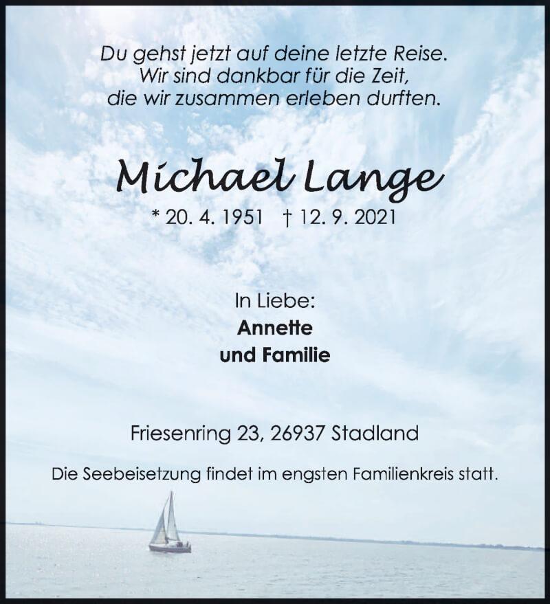 Traueranzeige für Michael Lange vom 18.09.2021 aus trierischer_volksfreund