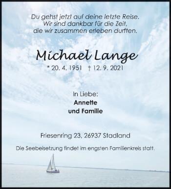 Traueranzeige von Michael Lange von trierischer_volksfreund