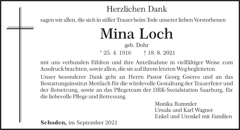Traueranzeige für Mina Loch vom 25.09.2021 aus trierischer_volksfreund