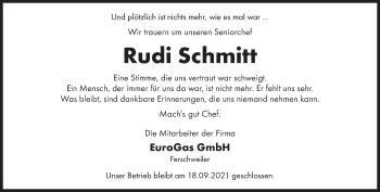 Traueranzeige von Rudi Schmitt von trierischer_volksfreund