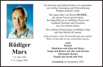Traueranzeige von Rüdiger Marx von trierischer_volksfreund