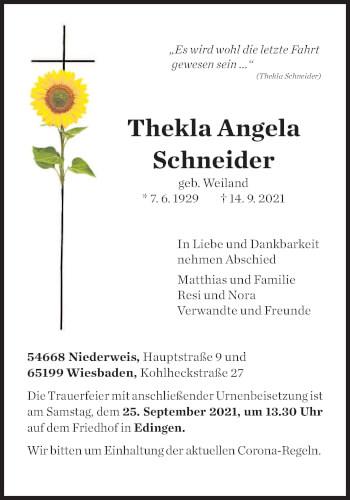 Traueranzeige von Thekla Angela Schneider von trierischer_volksfreund