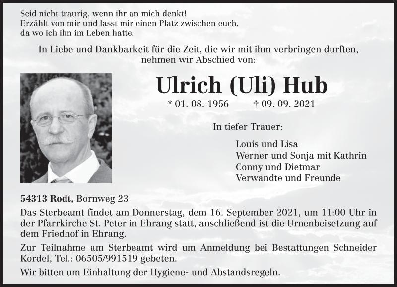 Traueranzeige für Ulrich Hub vom 14.09.2021 aus trierischer_volksfreund