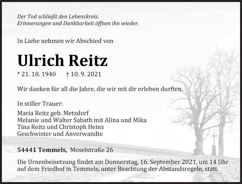 Traueranzeige für Ulrich Reitz vom 14.09.2021 aus trierischer_volksfreund