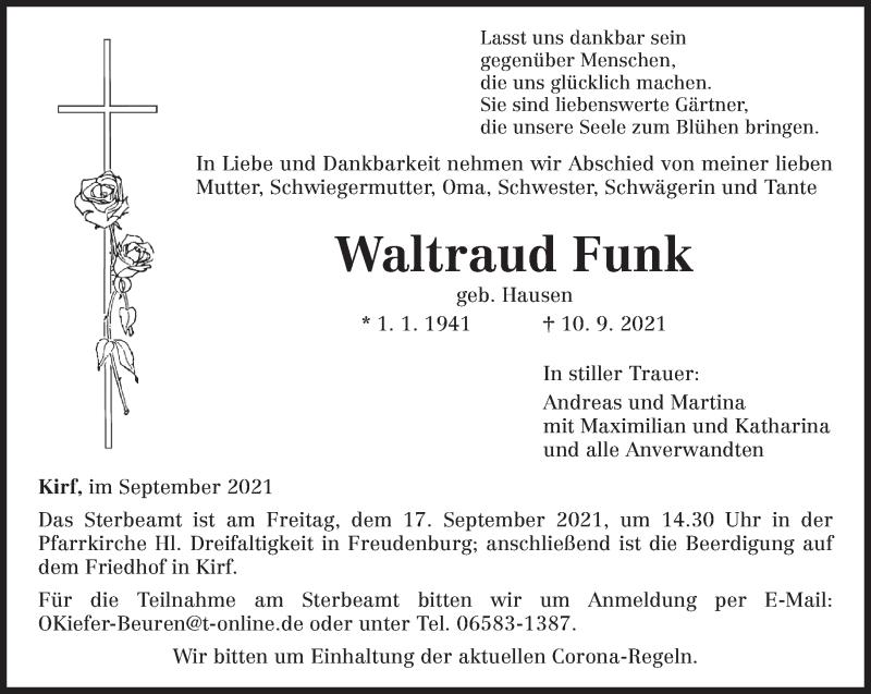 Traueranzeige für Waltraud Funk vom 14.09.2021 aus trierischer_volksfreund