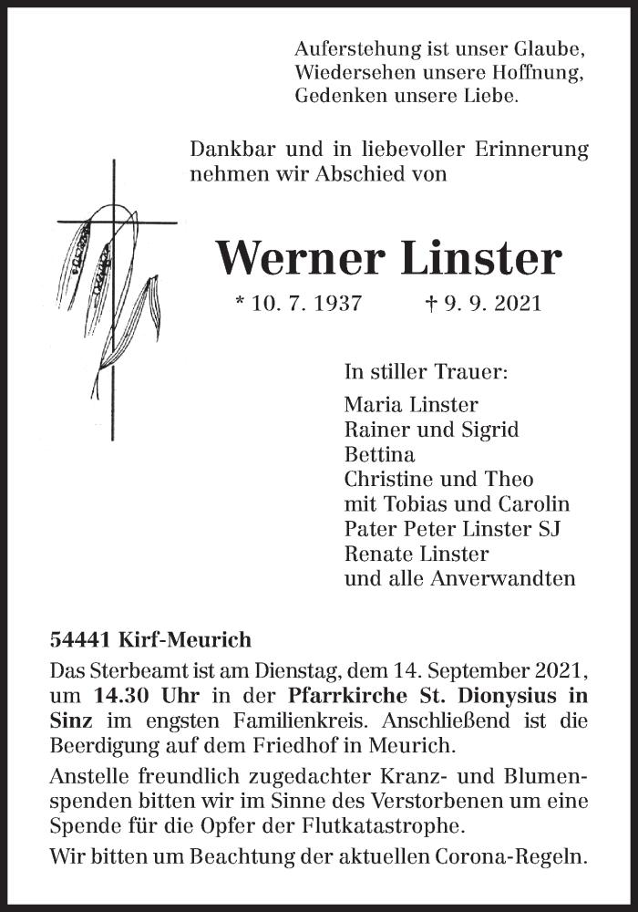 Traueranzeige für Werner Linster vom 11.09.2021 aus trierischer_volksfreund